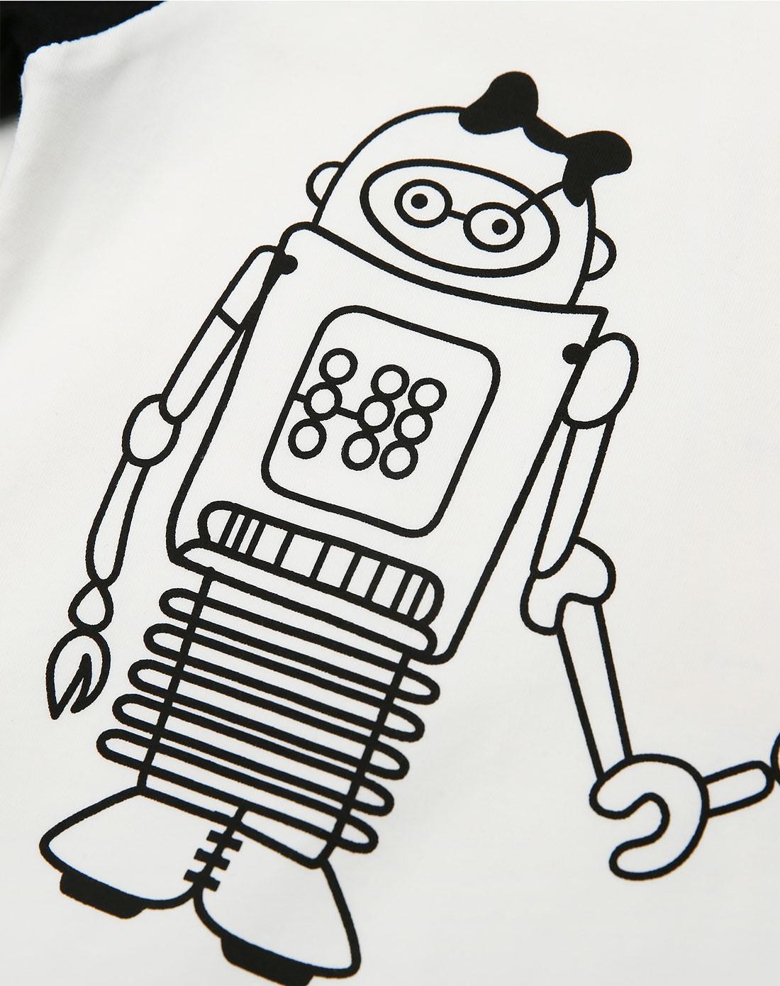 男童白色机器人印花拼接t恤