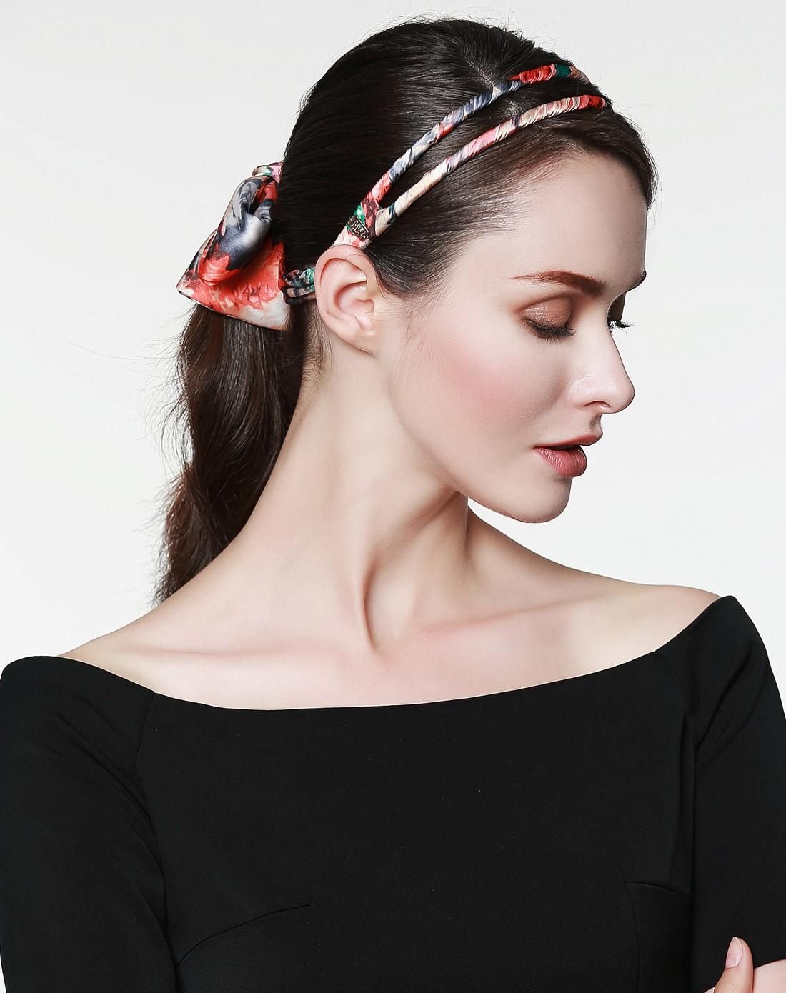桔红印花双杠布艺多用飘带发箍