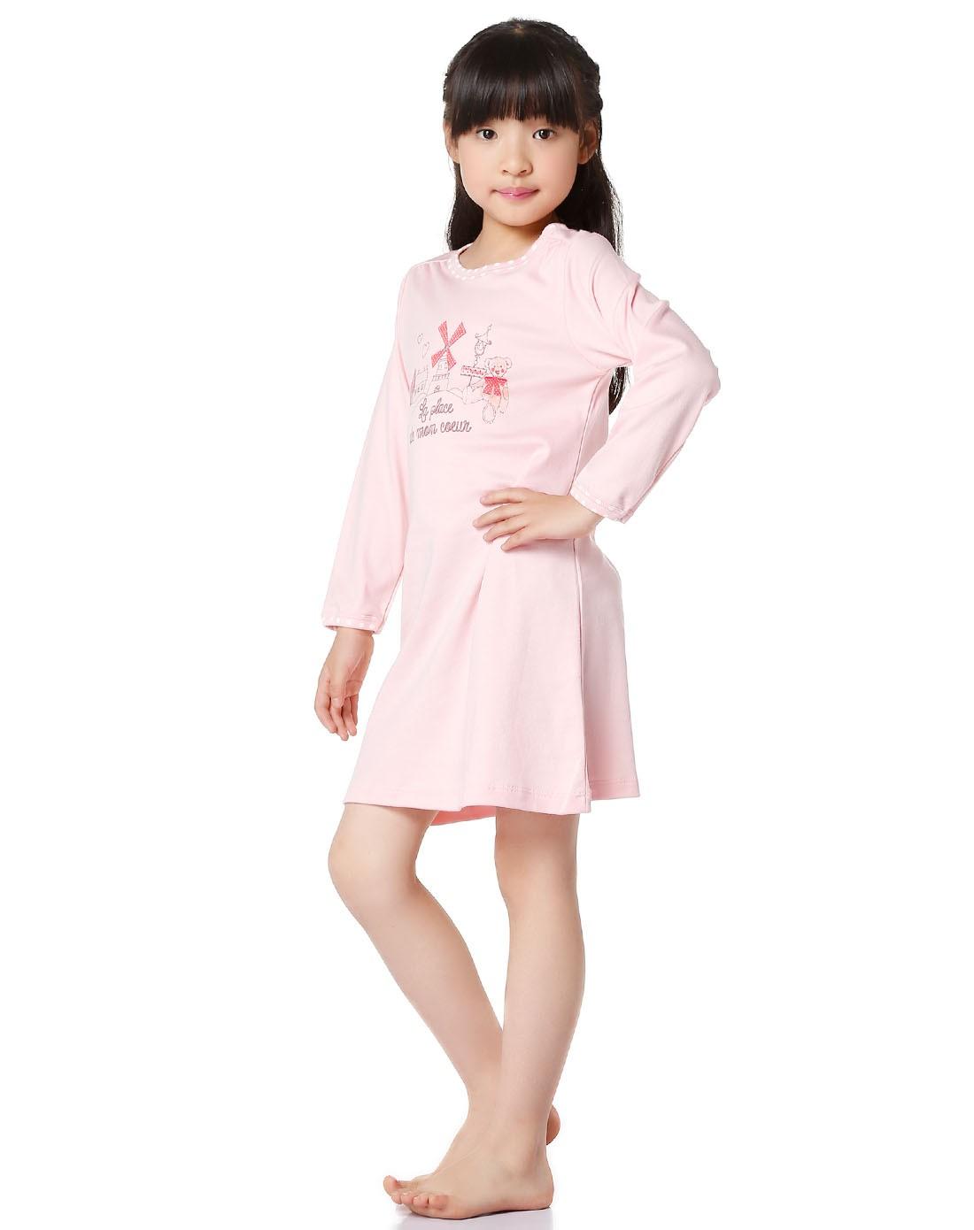 kids女孩粉红色可爱舒适睡衣