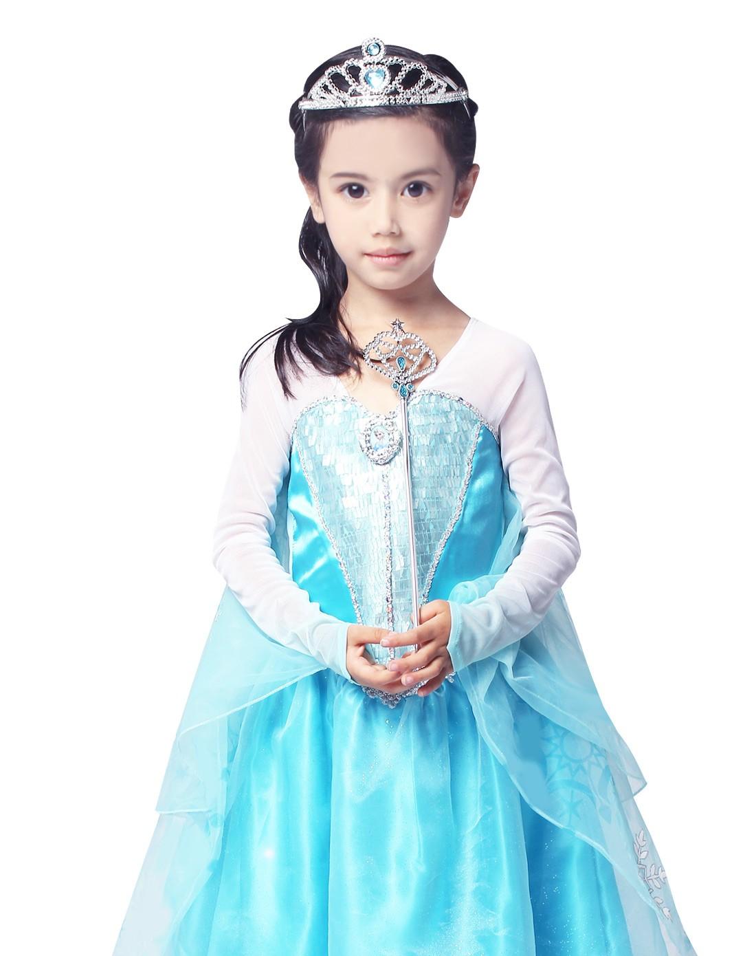 迪士尼公主系列之华丽礼服裙专场-冰雪奇缘艾莎公主皇冠 手杖套装