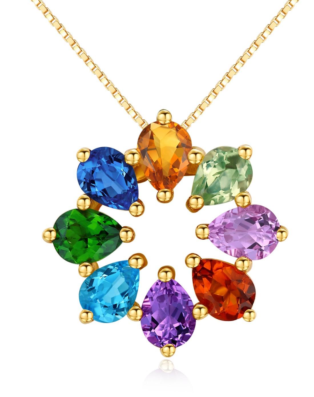 彩虹彩色宝石吊坠 女 18k黄金托帕石紫晶黄晶绿水晶透辉石坠