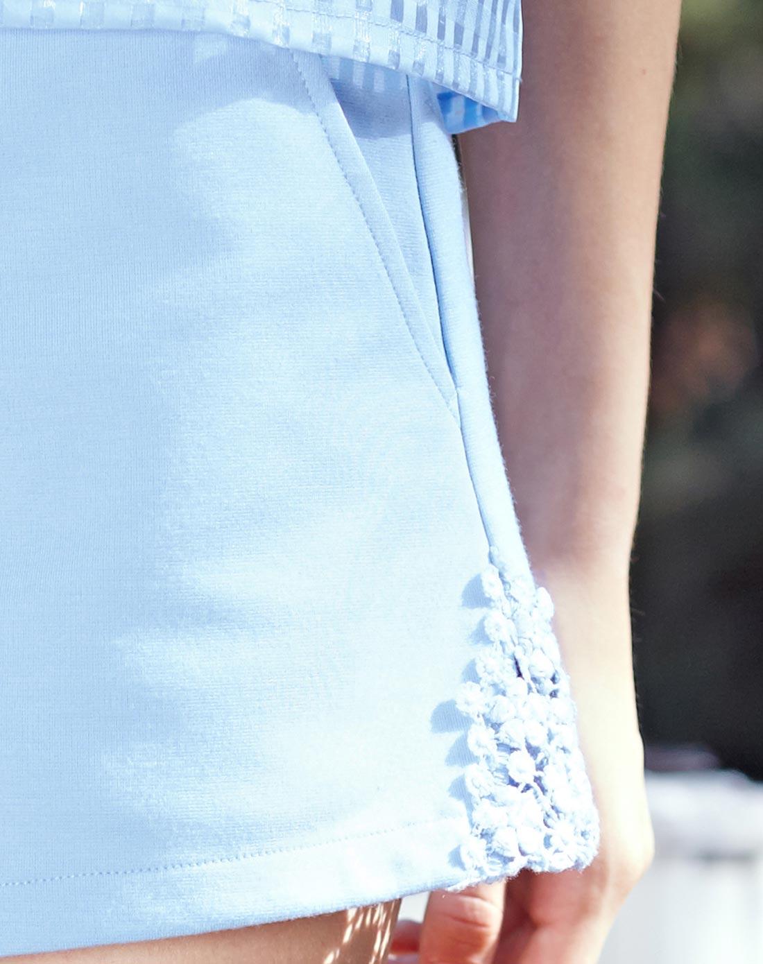 天使之城女装移动端专场天使之城浅蓝花边装饰弹性