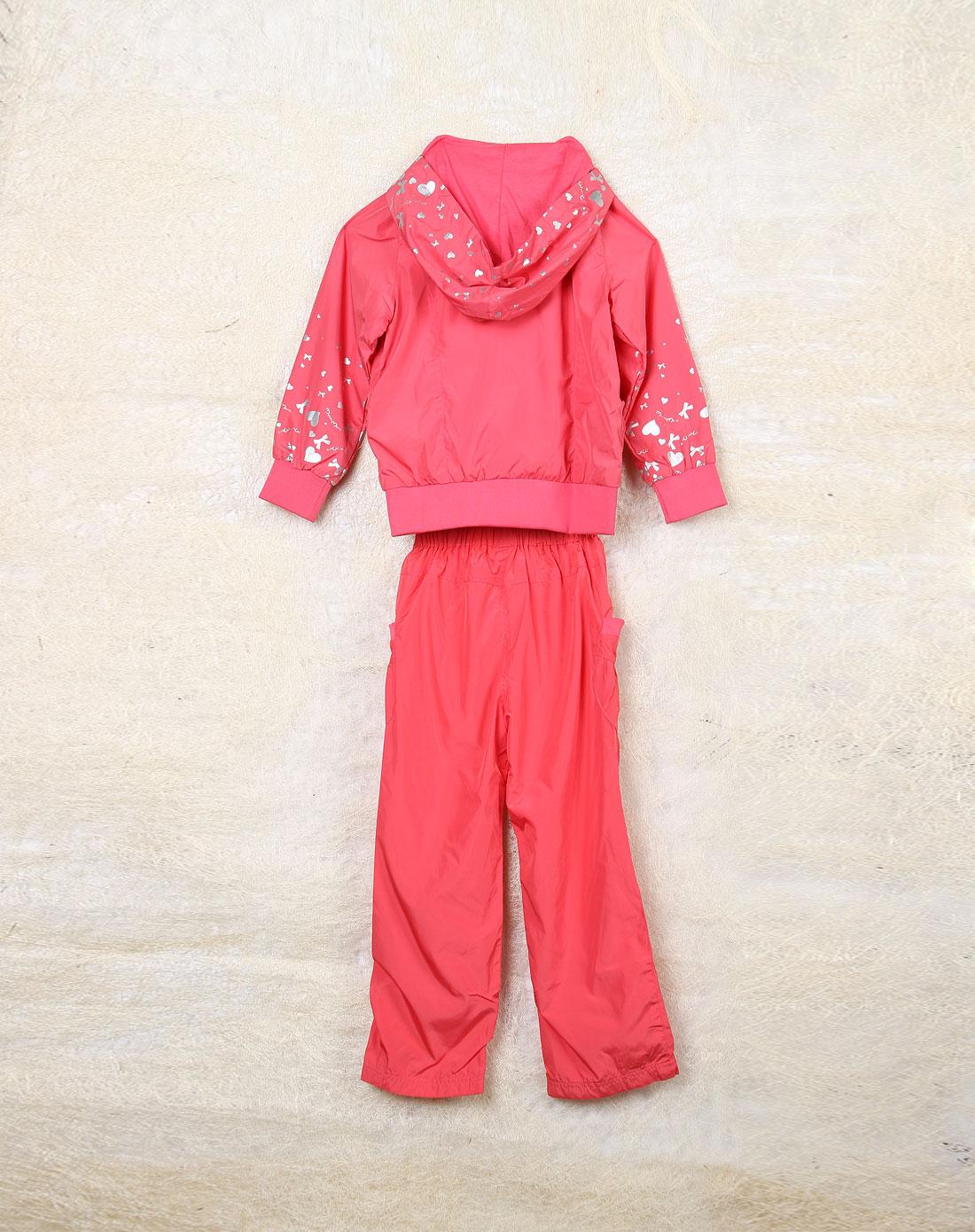 麻希玛柔moshimoro男女童混合专场-女童夕阳红色时尚长袖带帽化纤套装