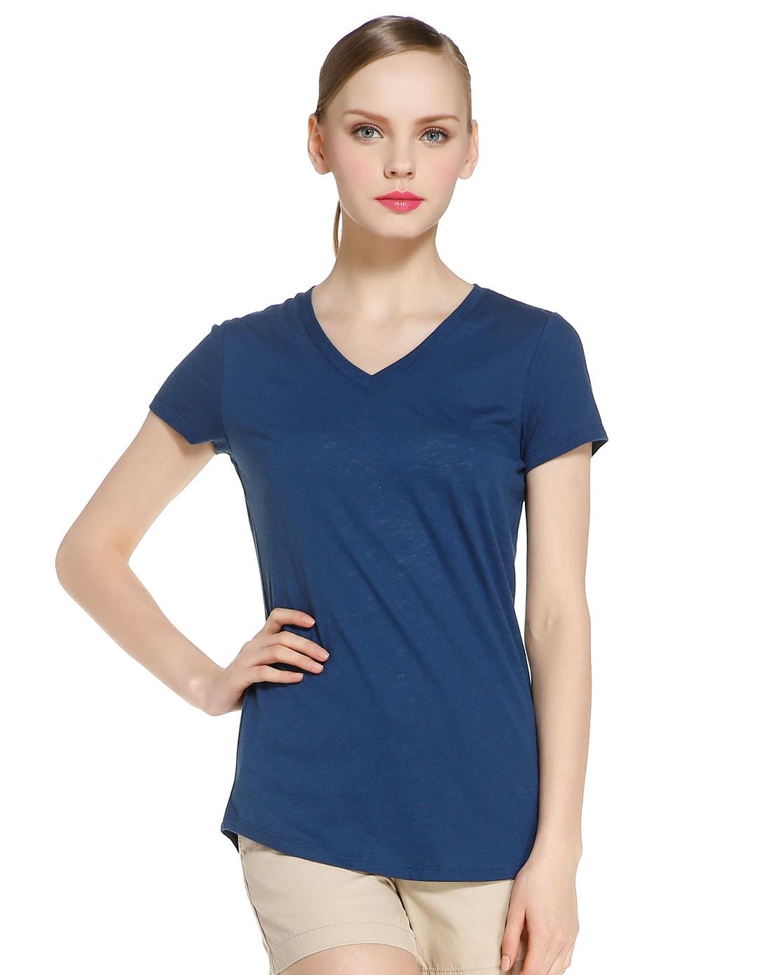 女款藏蓝色v领简洁短袖t恤
