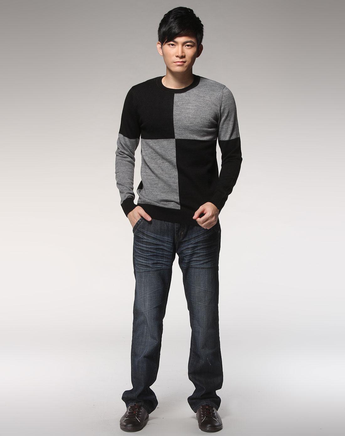 森马男装专场-黑灰色时尚拼色长袖毛衫图片