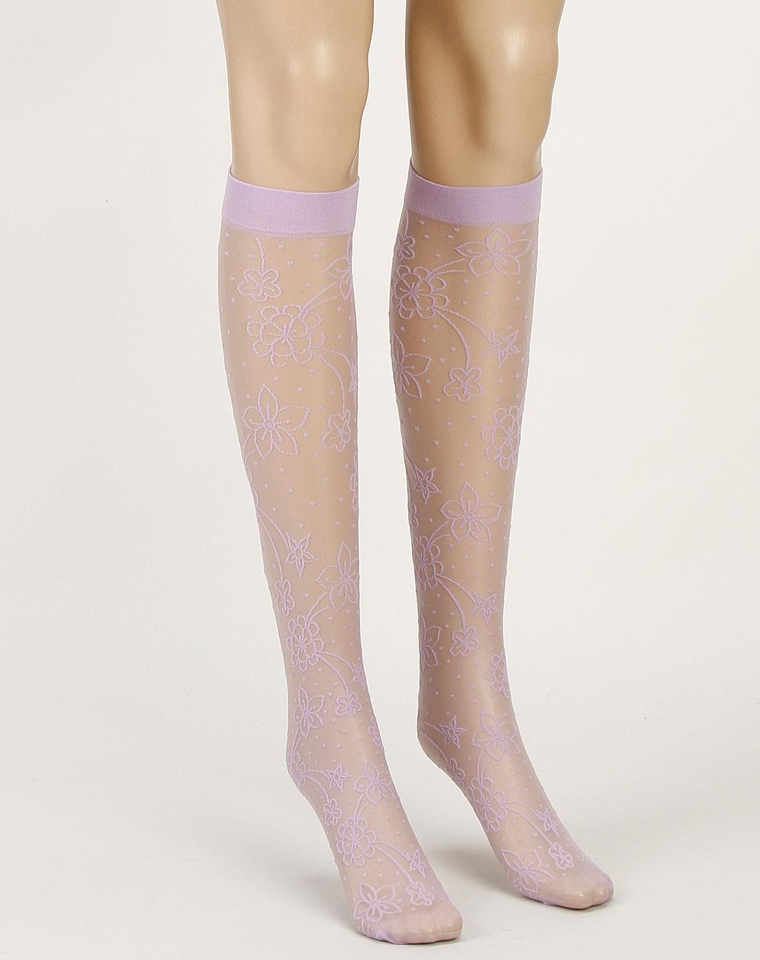 寓美女款紫色超薄绣花天鹅绒中筒袜4924001