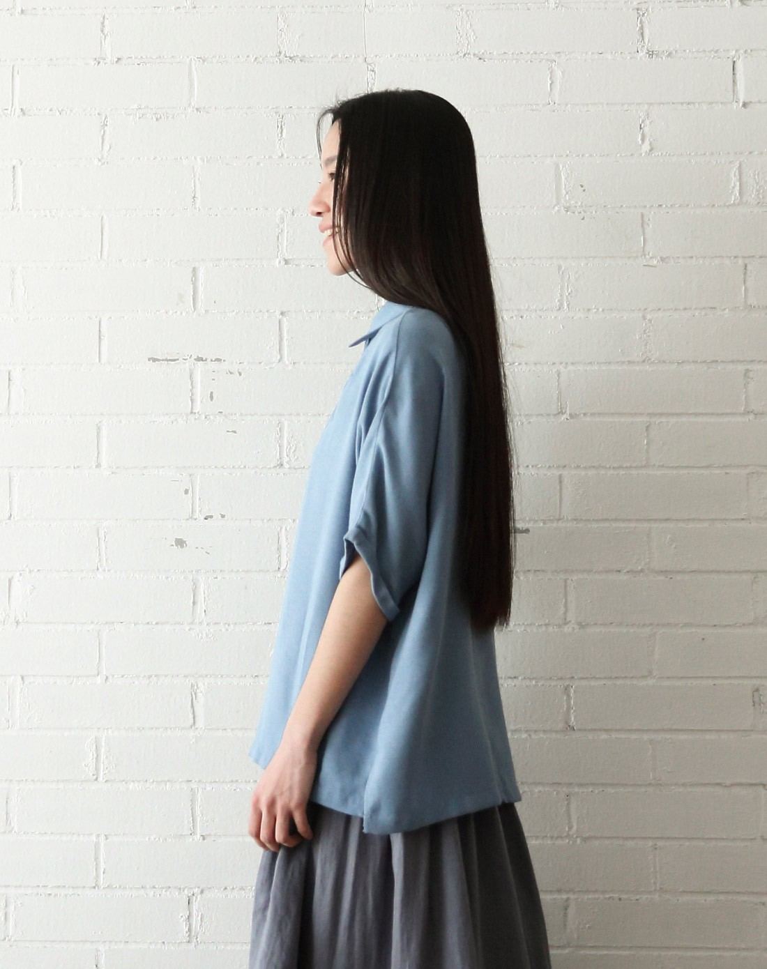 自古zigu&素缕souline男女装女士蓝色衬衫sl图片