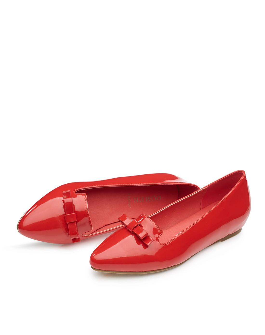 2015春季新款红色简约蝴蝶结尖头平底单鞋