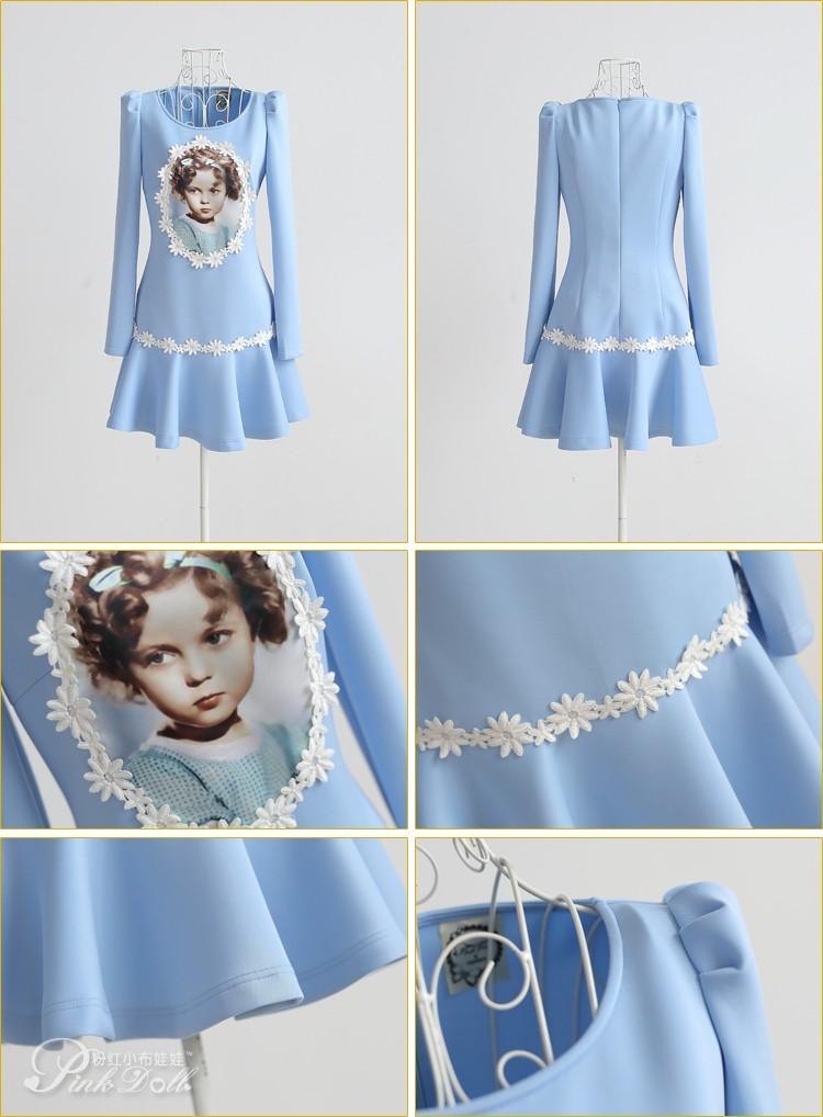浅蓝色印花女孩贴布绣长款连衣裙