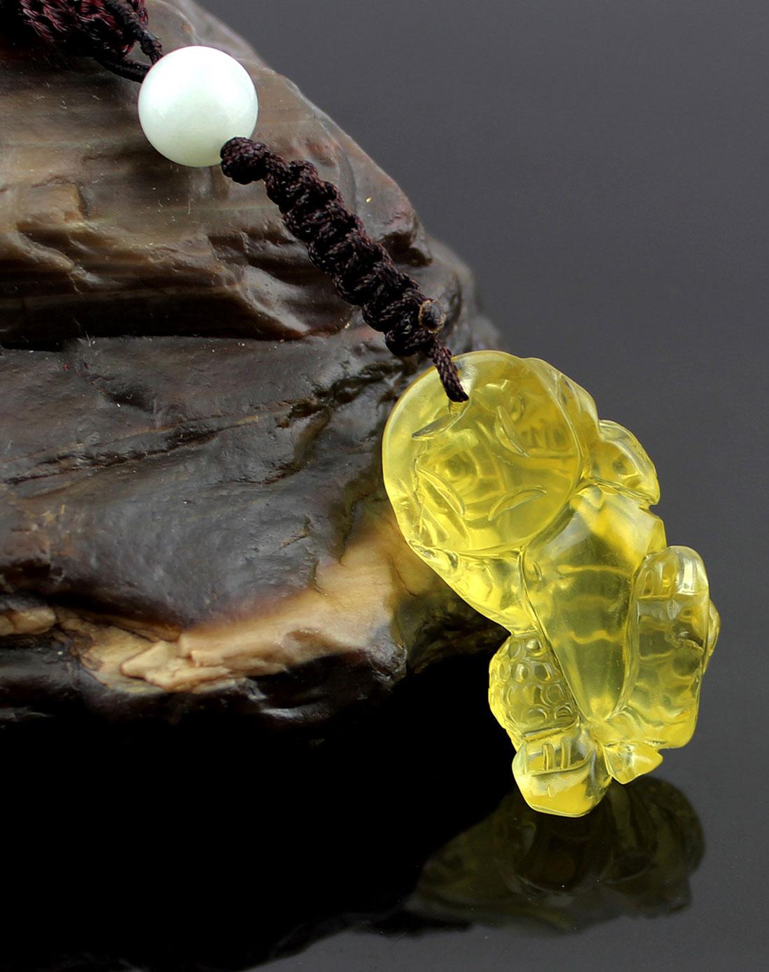 中性黃色一步登天貔貅3a級天然黃水晶吊墜掛墜(附鑒定證書)圖片