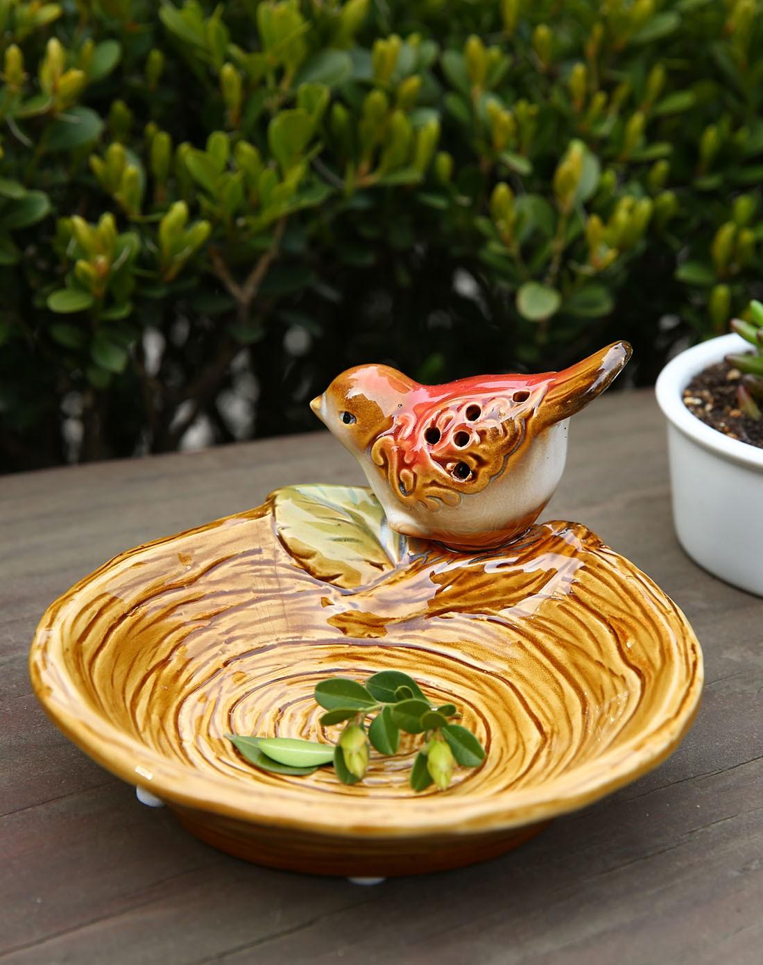 雅工坊欧式纯手工浅浮雕陶瓷果盘-小鸟蹲桩900200101图片