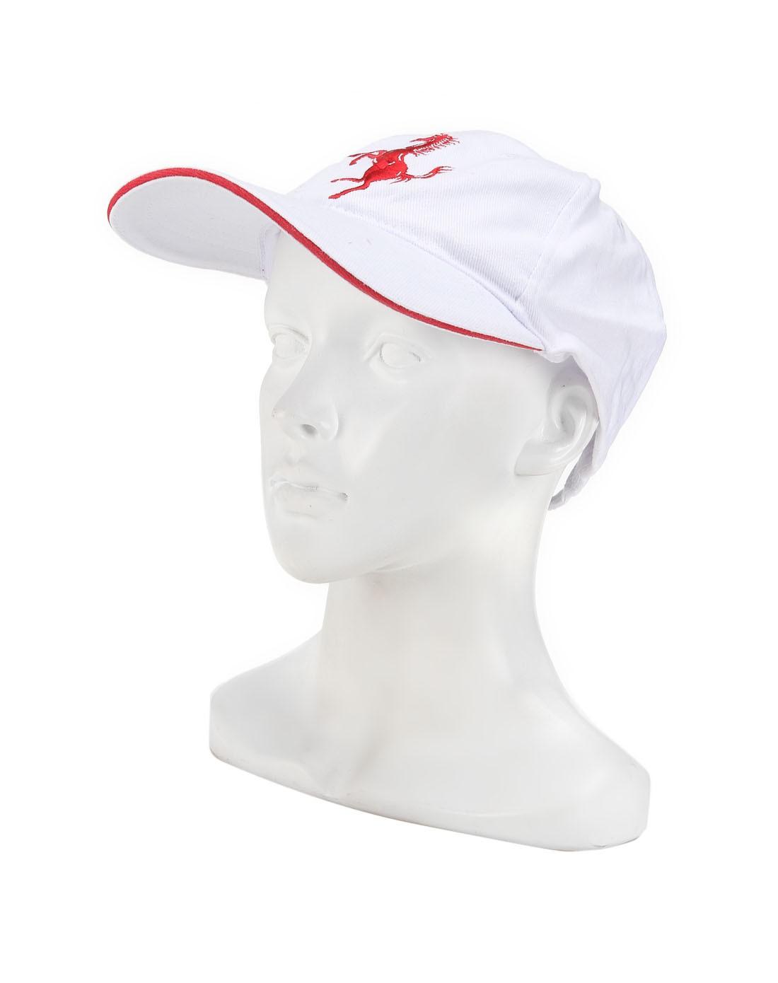 男款白/暗红色简约刺绣logo帽子