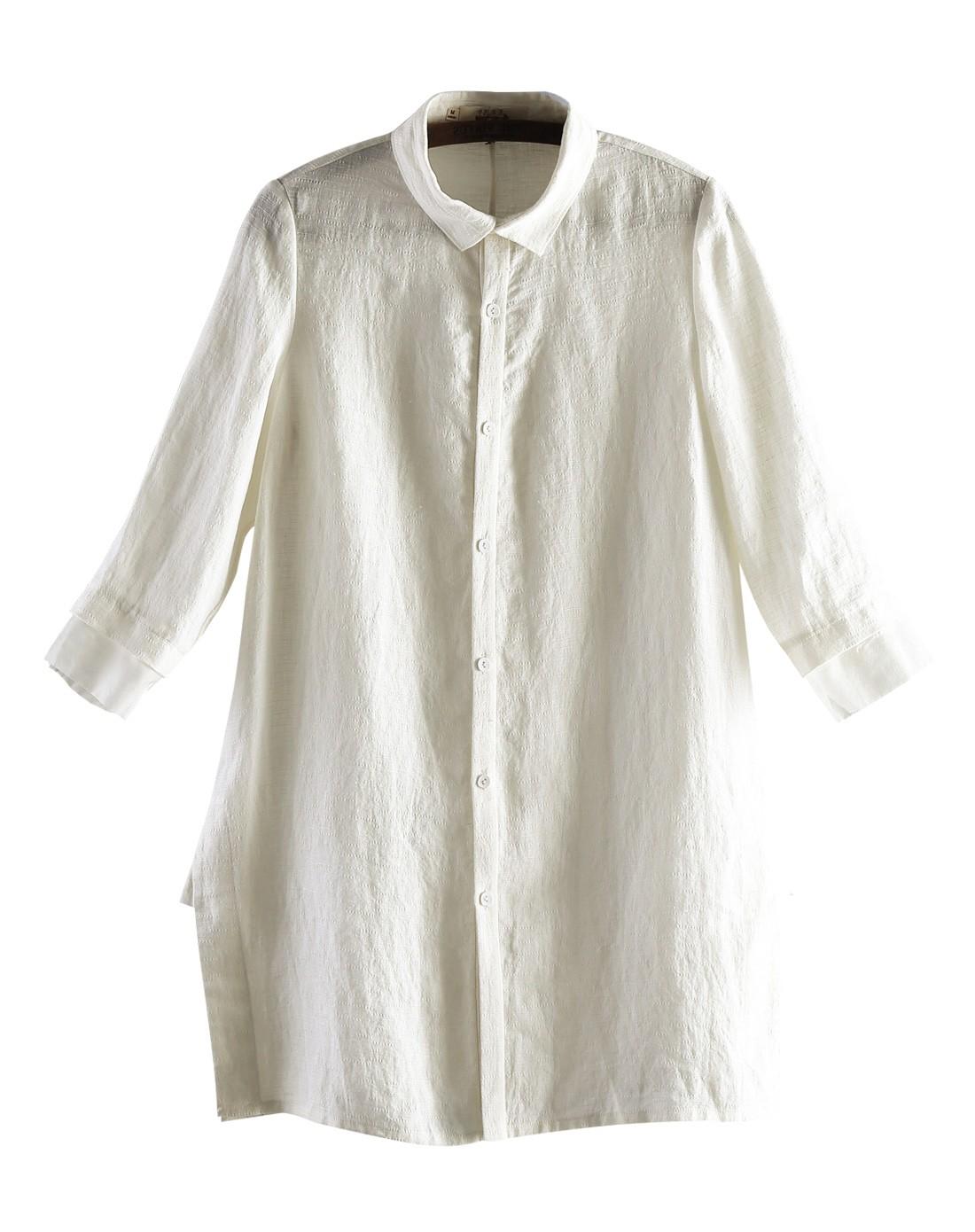 袖跺(h�(�_米白色中袖简约衬衣