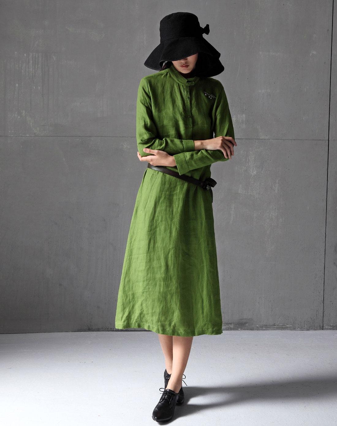 草绿色简约棉麻长袖连衣裙