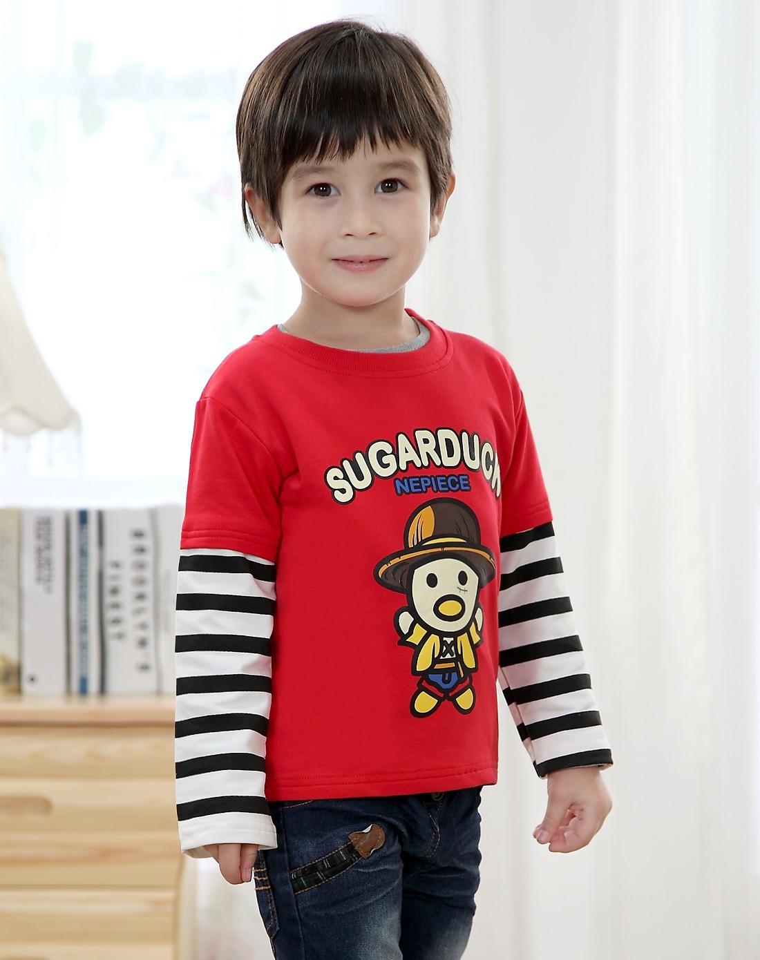男童春款卡通大红色长袖t恤