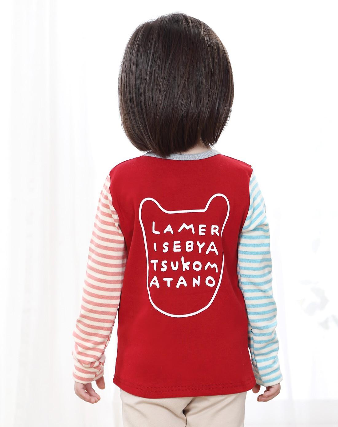 女童卡通猫头红色长袖t恤