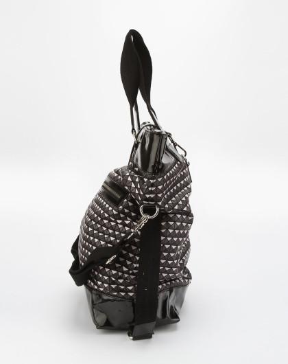ppt 黑白色格子时尚手提包