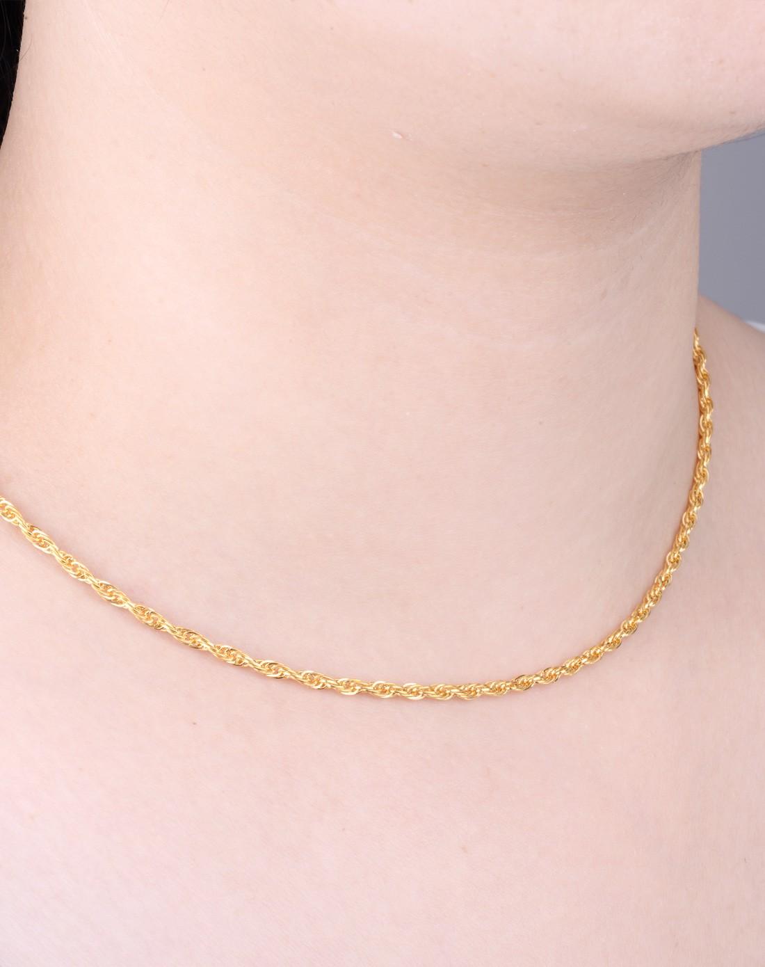 千足金黄金项链0103071男士女士简约绳子链(7.54克)