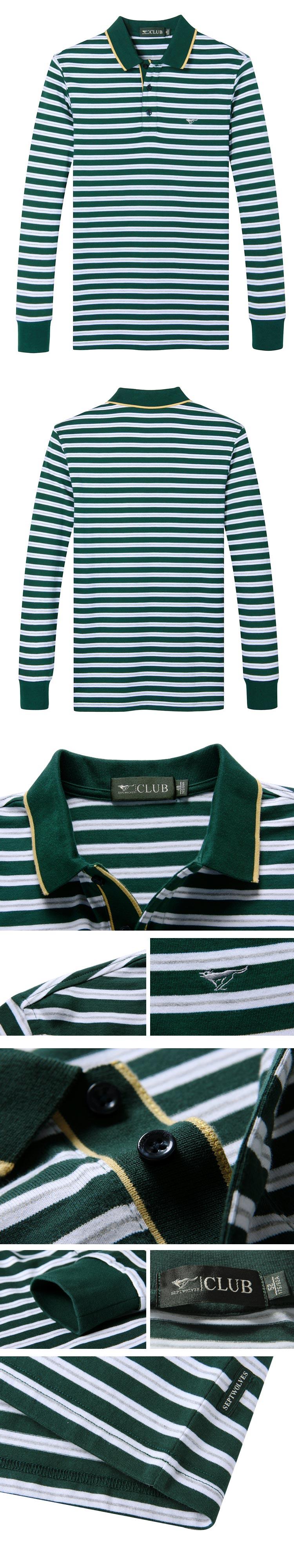 墨绿色条纹纯棉长袖t恤polo衫