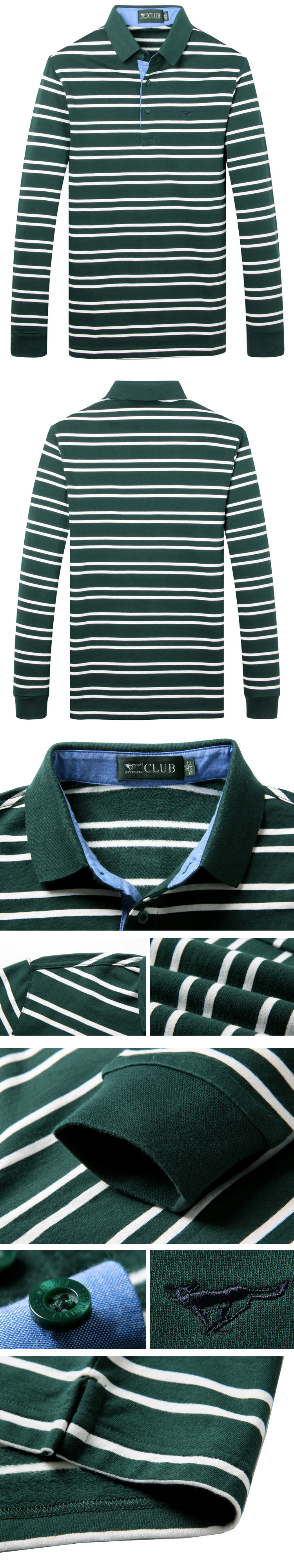 墨绿色简约撞色条纹纯棉长袖t恤polo衫