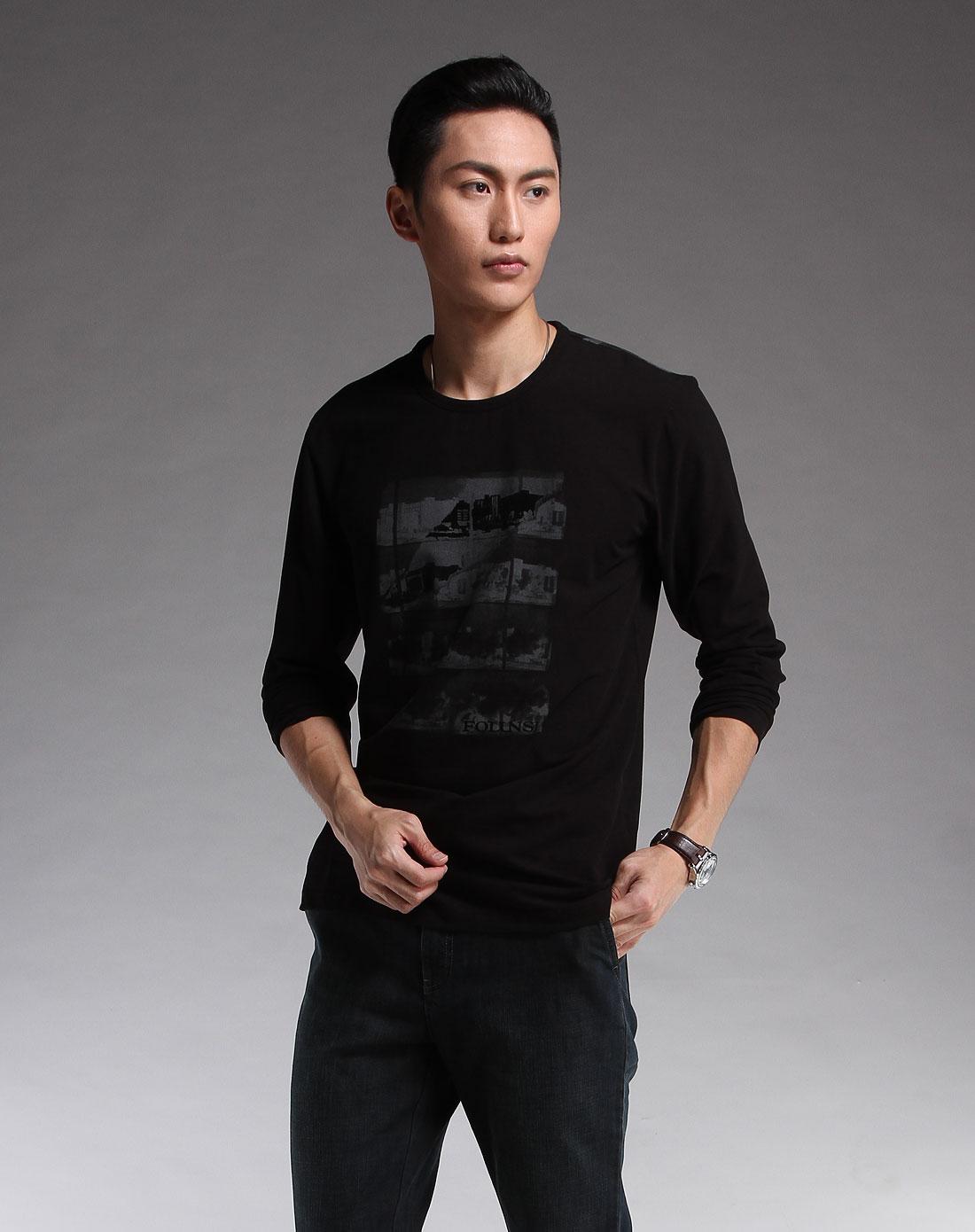 黑色印花休闲长袖t恤