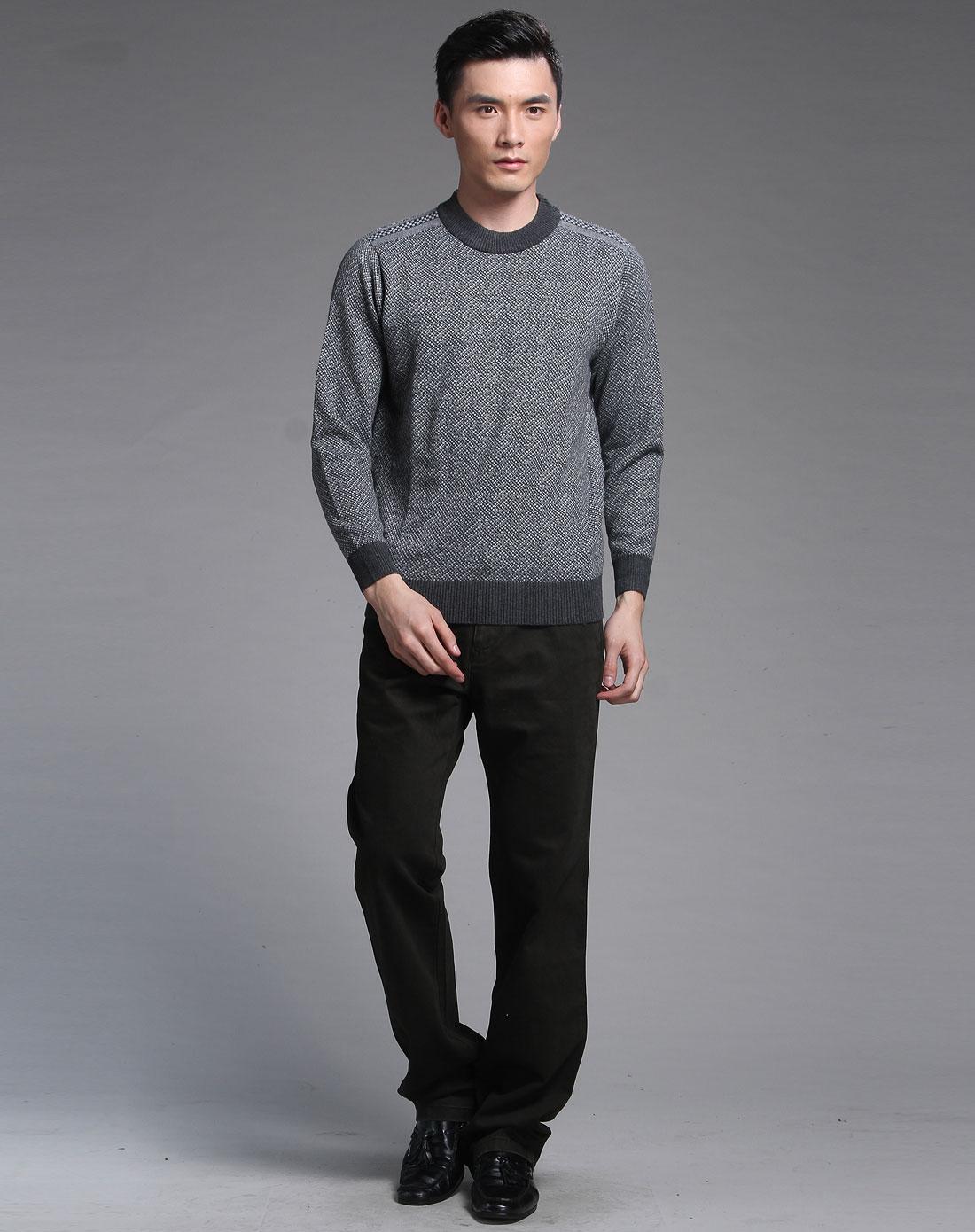 罗兰丹顿男款灰色气质商务长袖羊毛衫991036-97