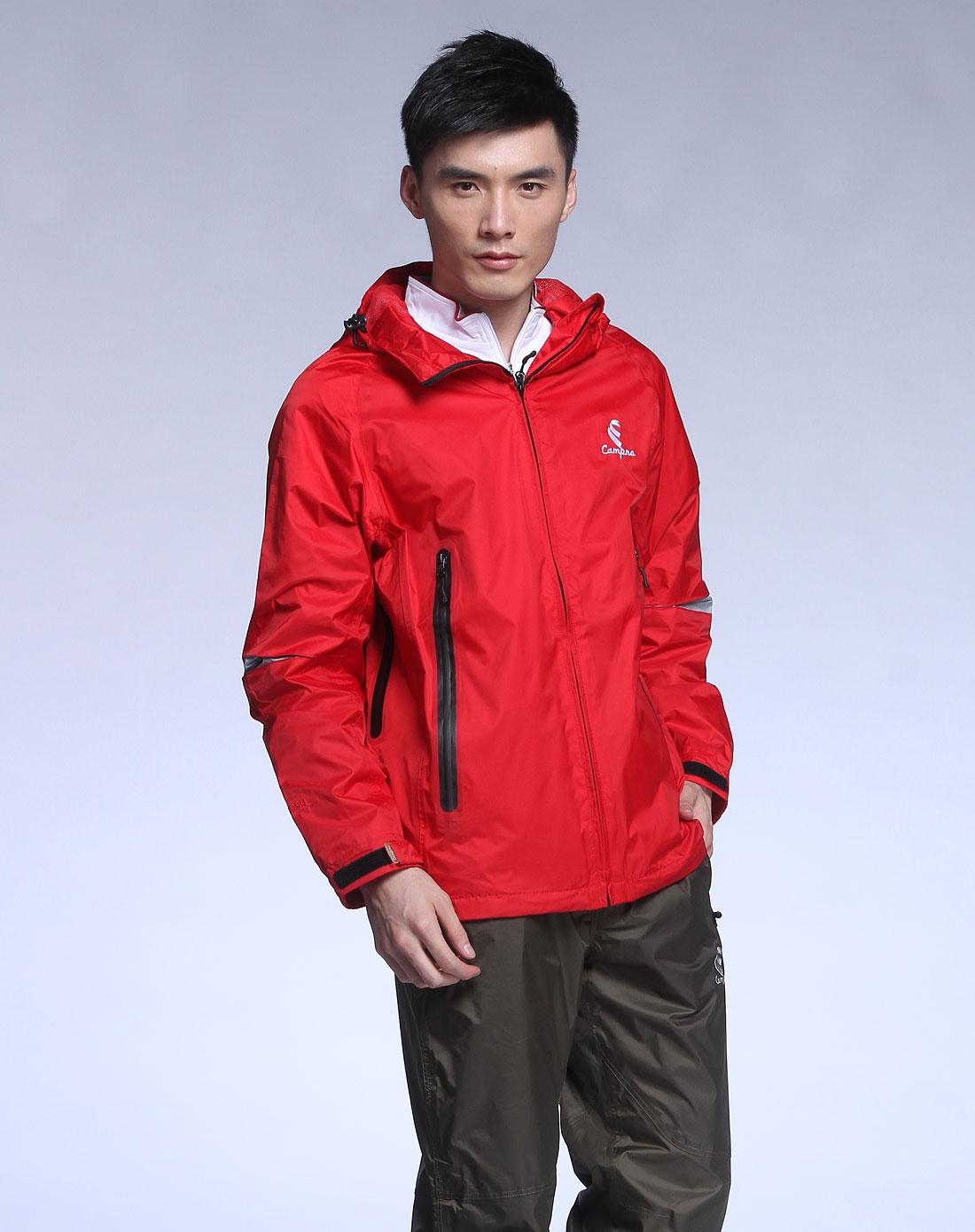 凯柏龙CAMPNO男装专场-大红色连帽透气防水防风长袖冲锋衣