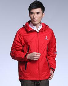 大红色连帽透气防水防风长袖冲锋衣