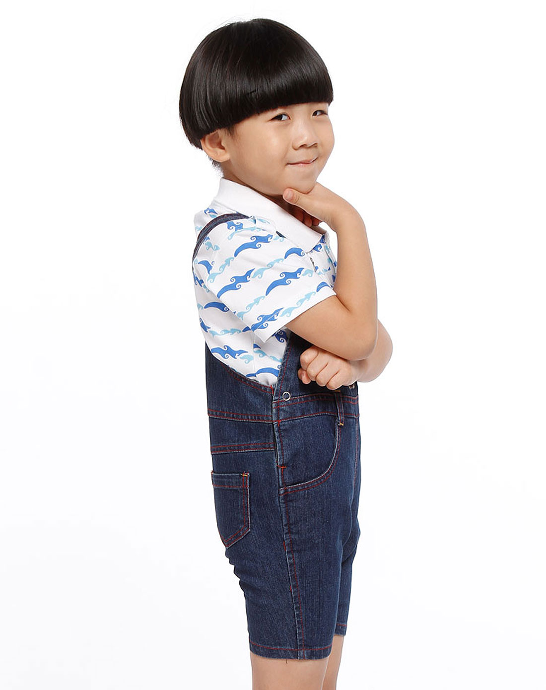 男童蓝色时尚牛仔背带裤