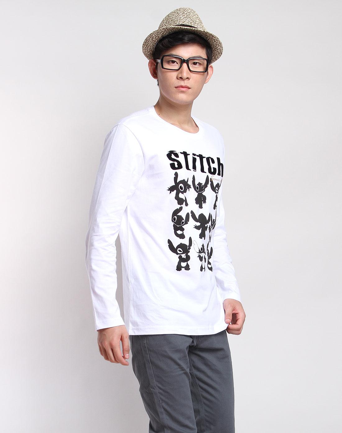 白黑色可爱卡通印花长袖t恤