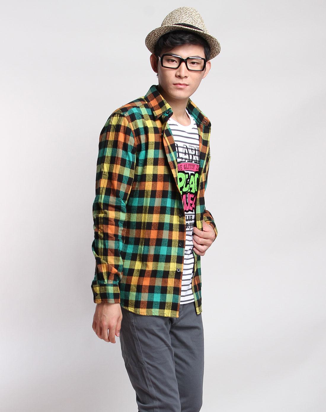 森马男装专场-黑黄绿色格子时尚长袖衬衫图片