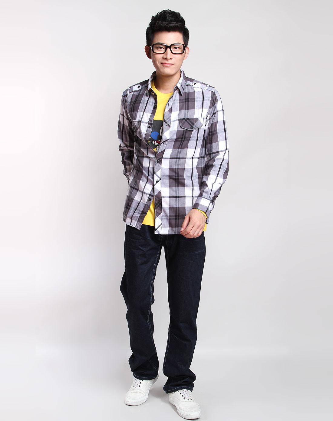 灰白色大格子长袖衬衫