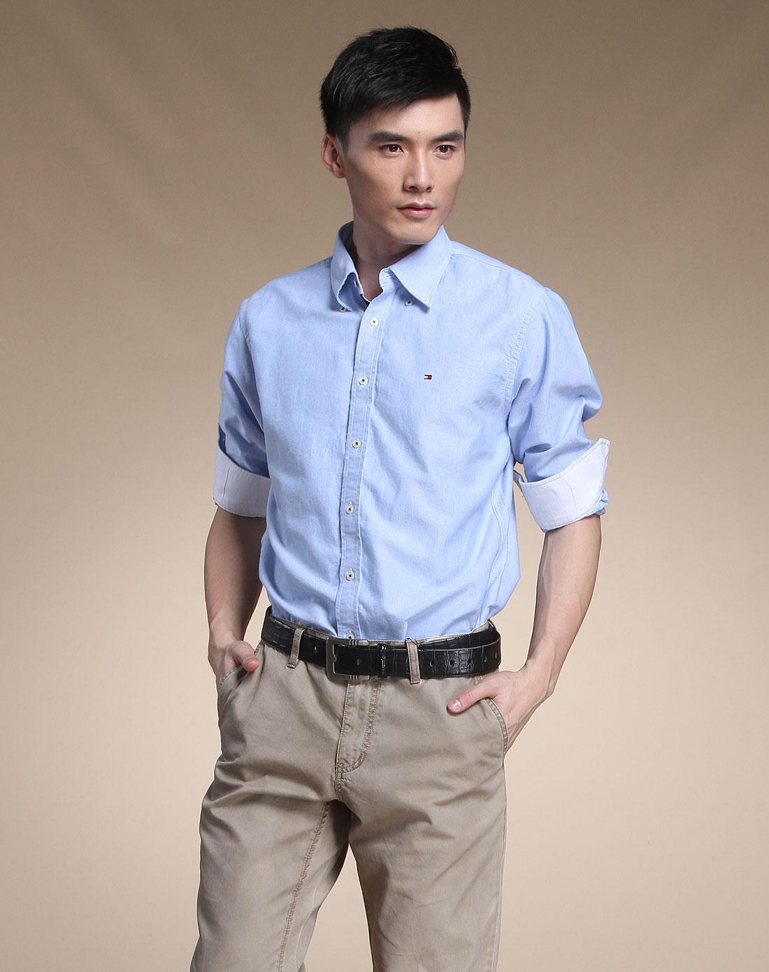 汤美费格tommyhilfiger衬衫专场-美食简约蓝色长袖男装时尚称为摄影师图片