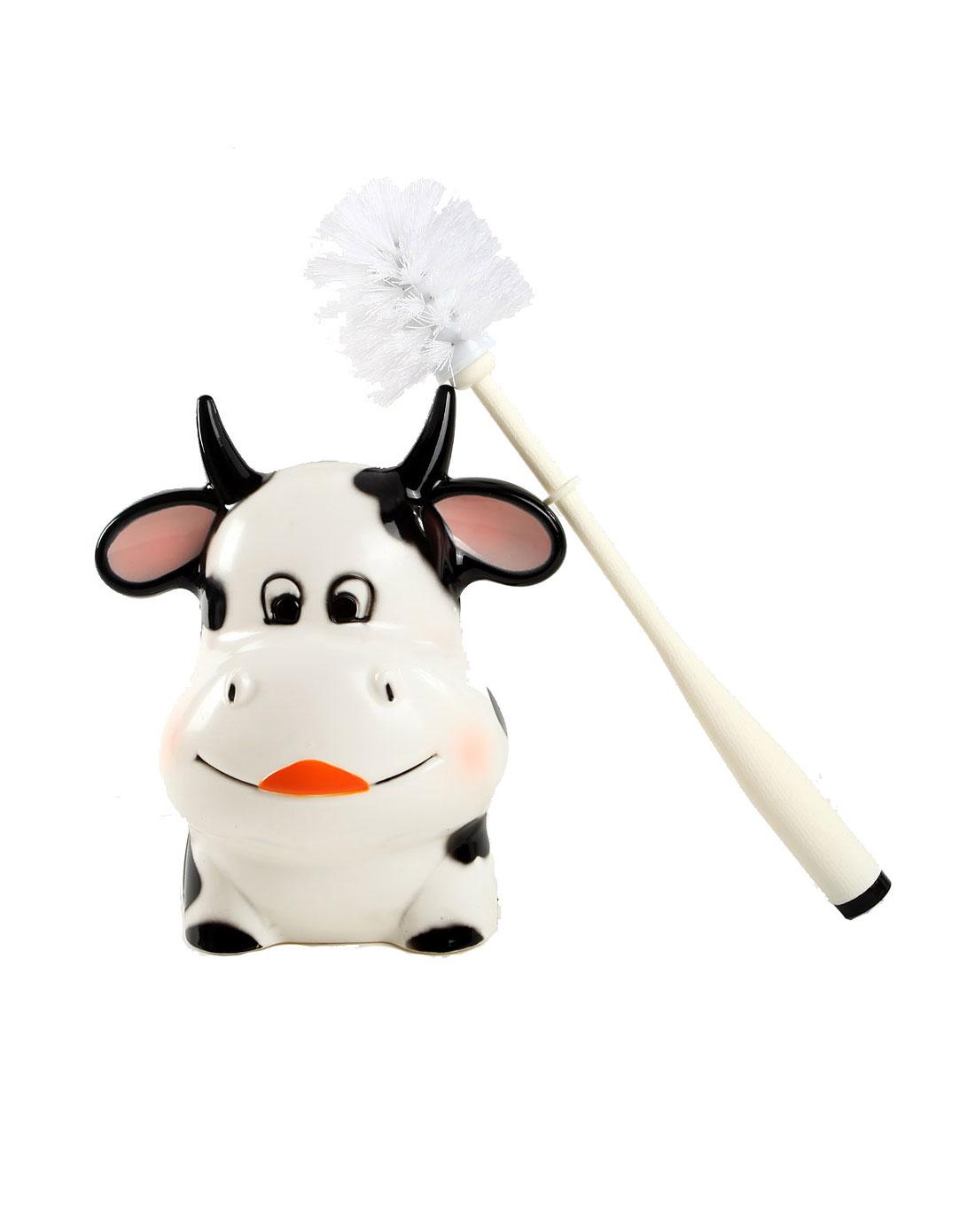 白黑色可爱小奶牛造型马桶刷
