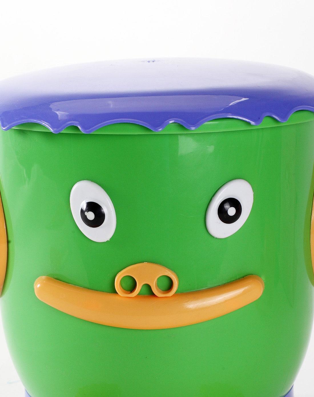 绿色卡通造型垃圾桶 3l