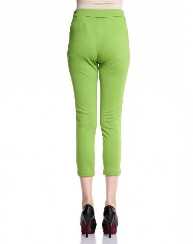 果绿色简约休闲针织裤子