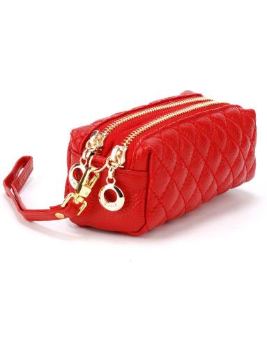 女款红色双拉链牛皮零钱包