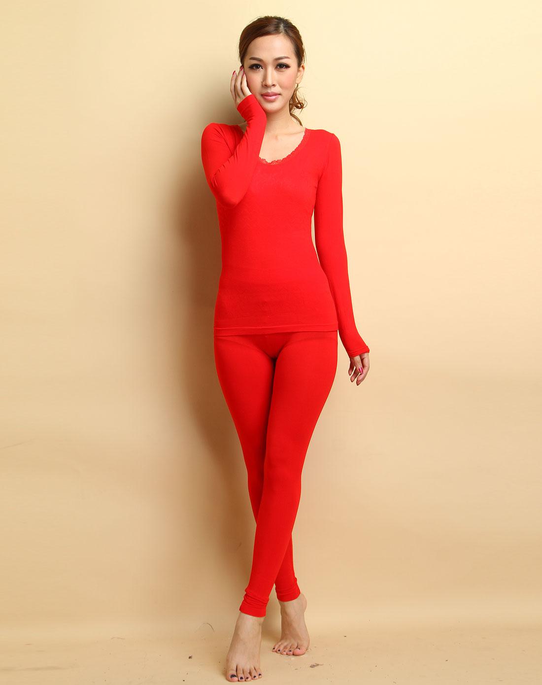 女款大紅色長袖美體內衣套裝圖片