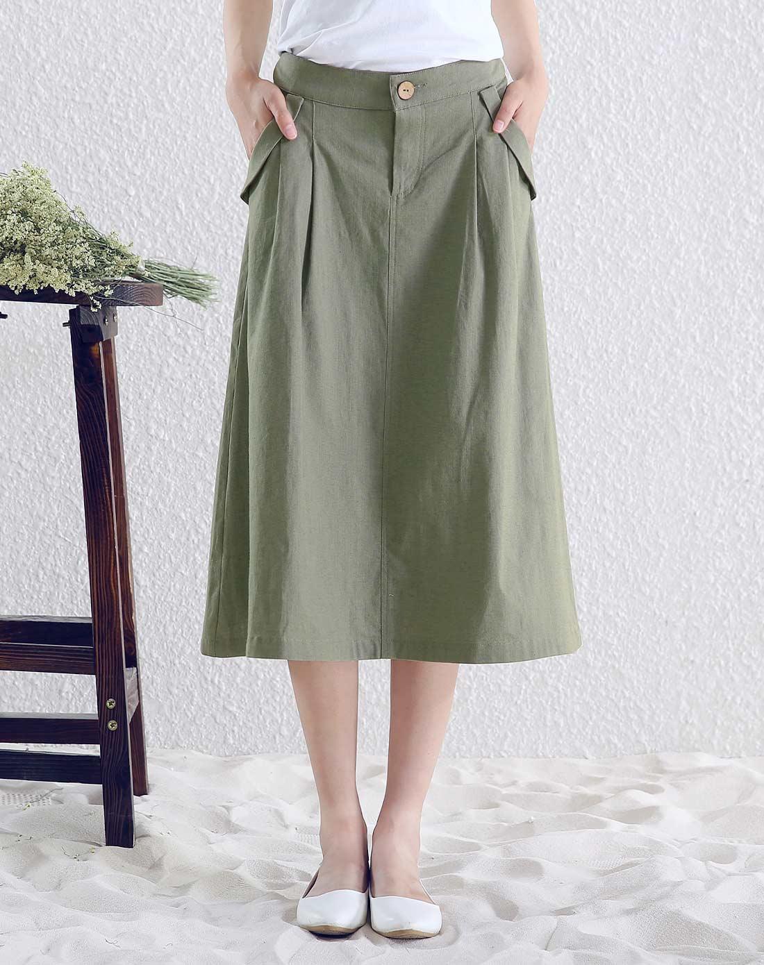 女款军绿色半身裙