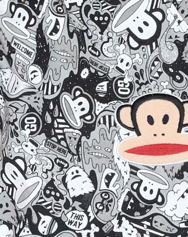 大嘴猴paul frank男女特惠 logo印花 男式黑白满印裤