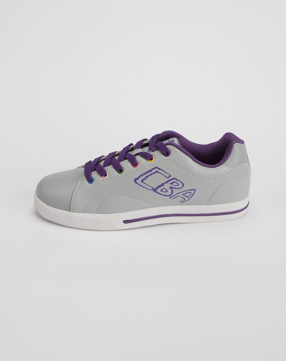 cba男女装女款浅灰/紫色时尚运动板鞋2021314-077