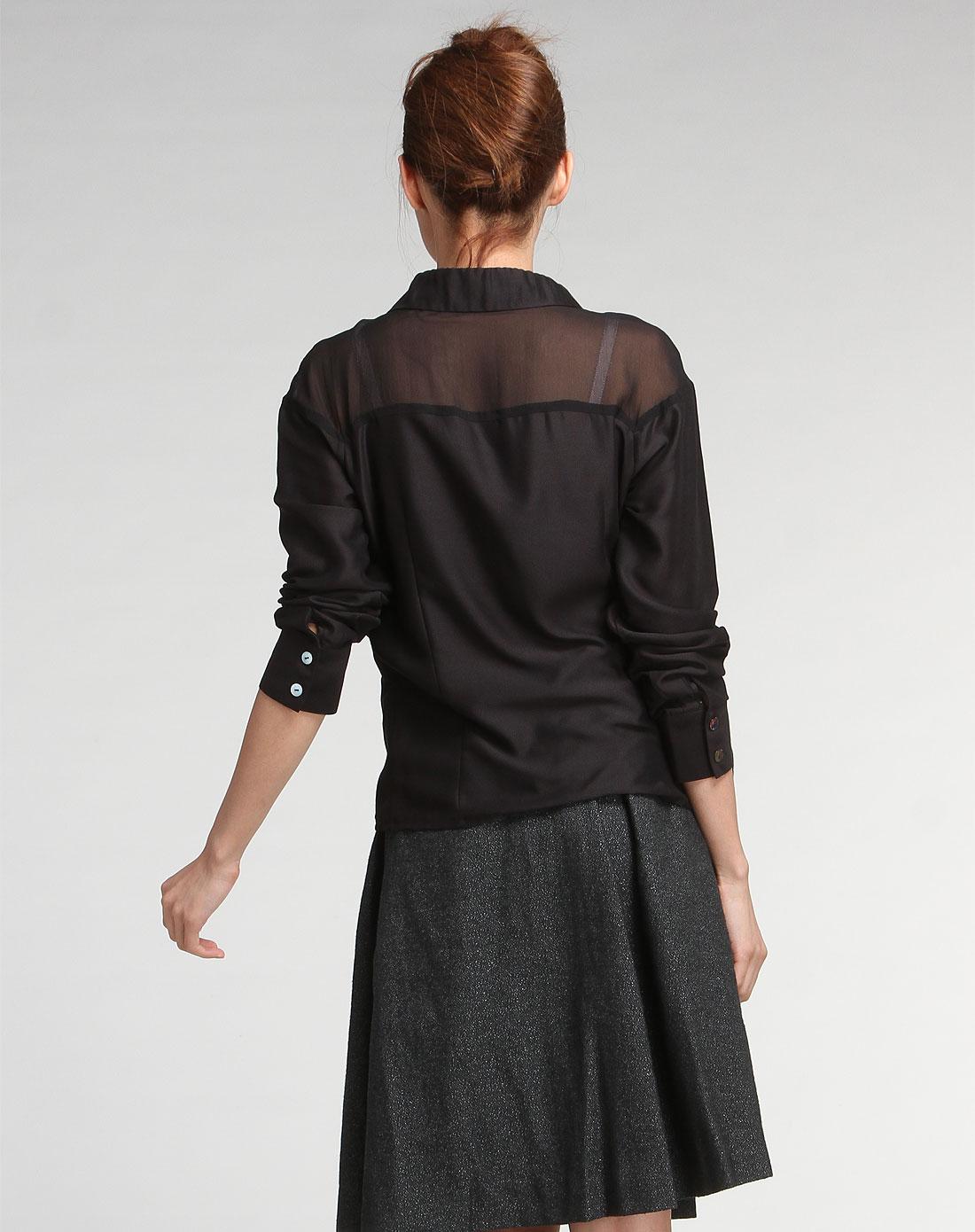 尹默immobile女装专场-黑色大方长袖衬衫