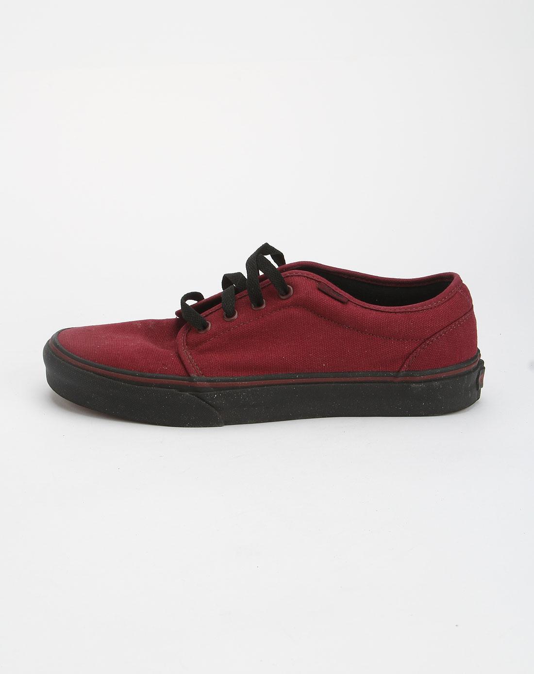 万斯vans男士专场-男款酒红色简约帆布绑带硫化鞋