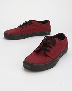 男款酒红色简约帆布绑带硫化鞋