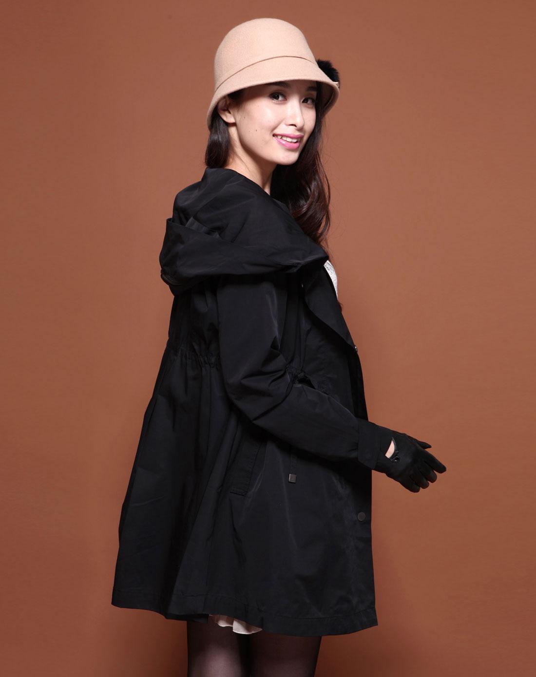 浪漫一身2014风衣_浪漫一身女装专场-黑色连帽抽绳长袖长款风衣