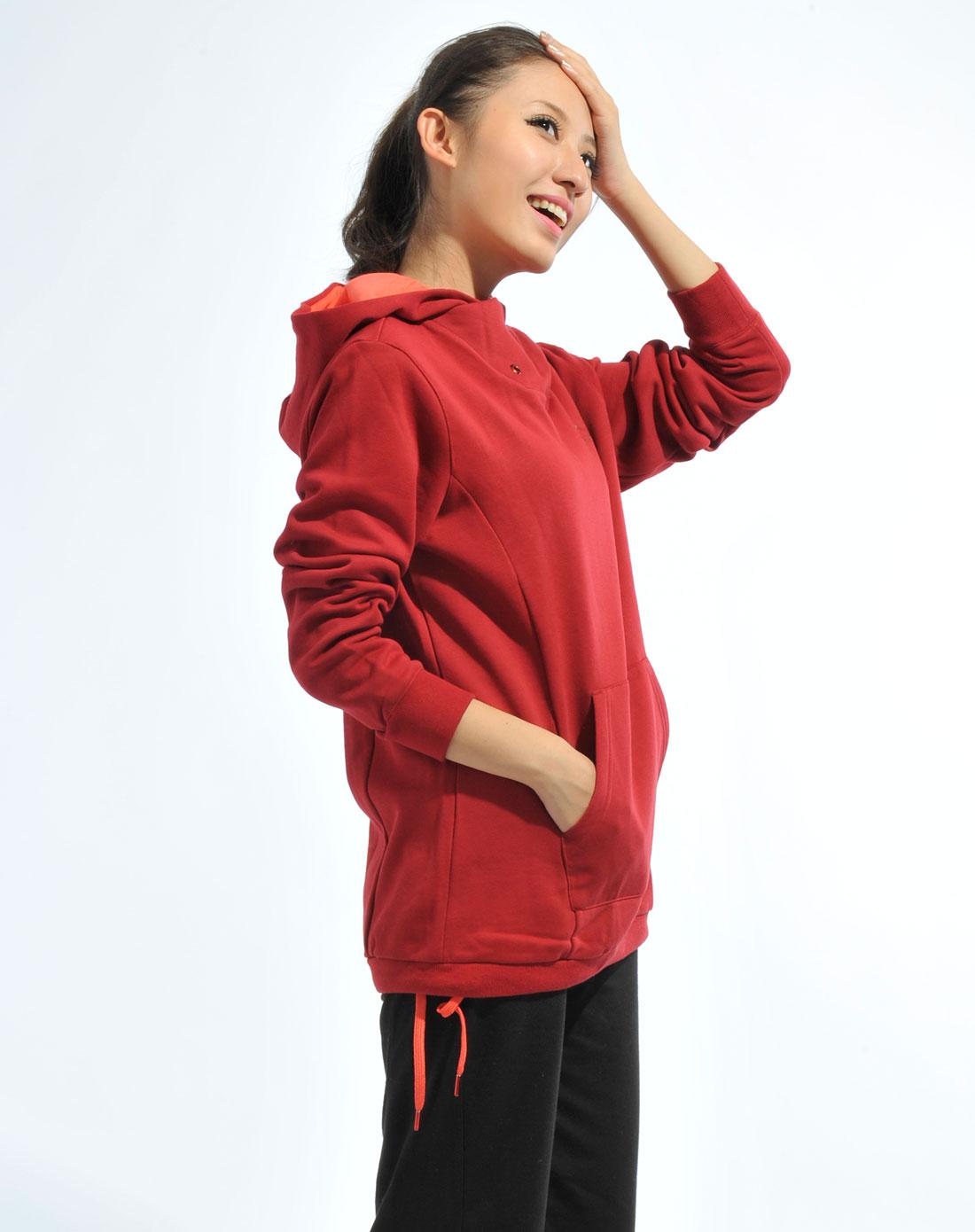 卫衣女_女款暗红色卫衣