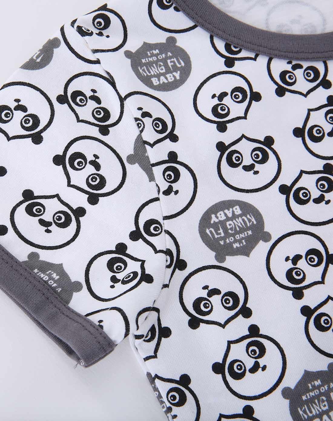男童白底满印熊猫大侠圆领肩开短袖套装