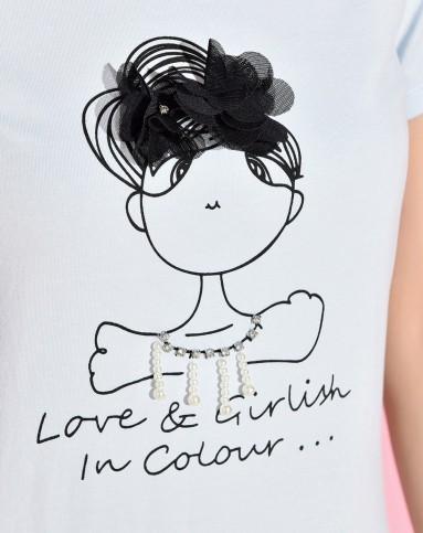 女式短袖漫画女孩圆领套头t恤