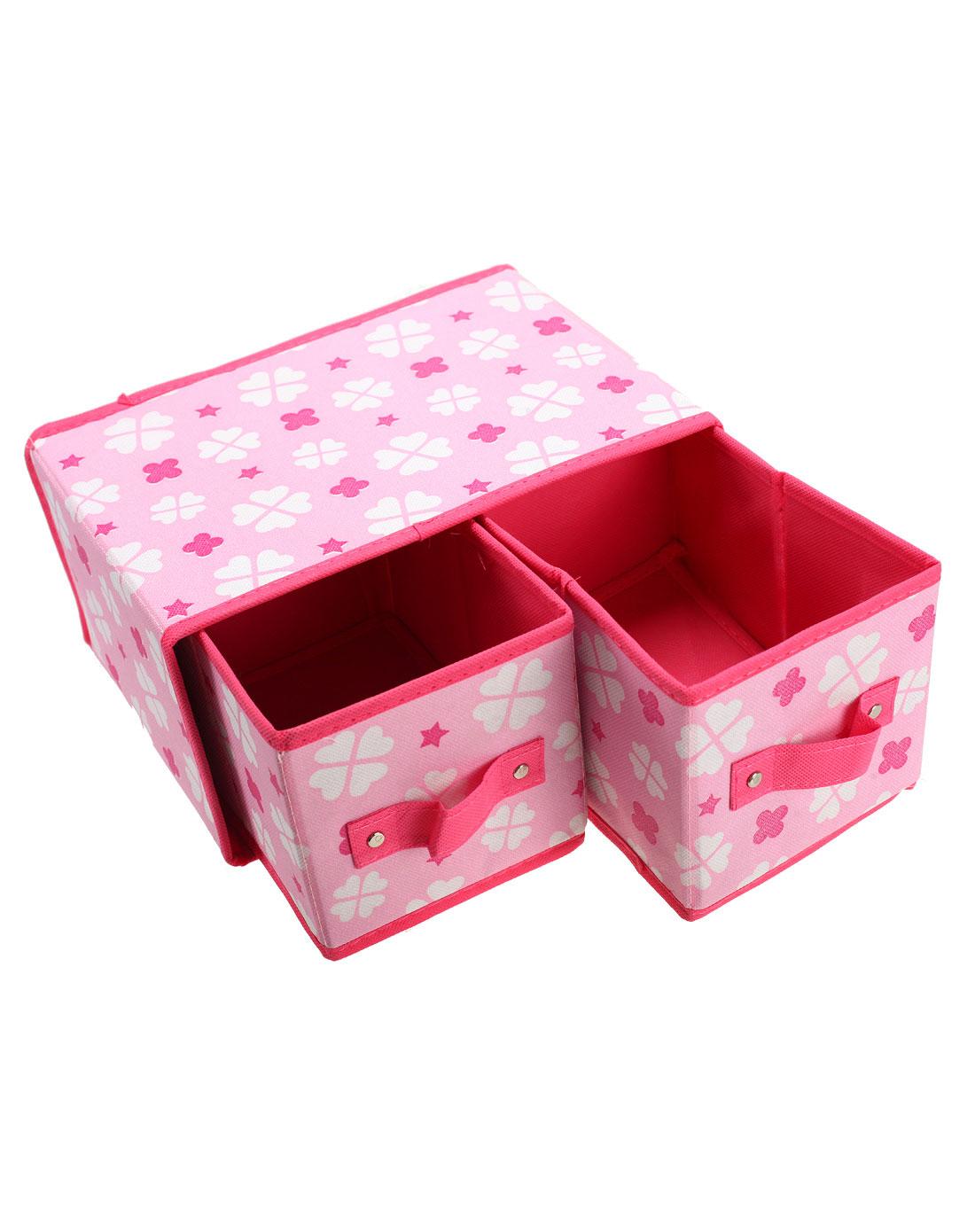 粉红色四叶草无纺布两格抽屉式收纳盒