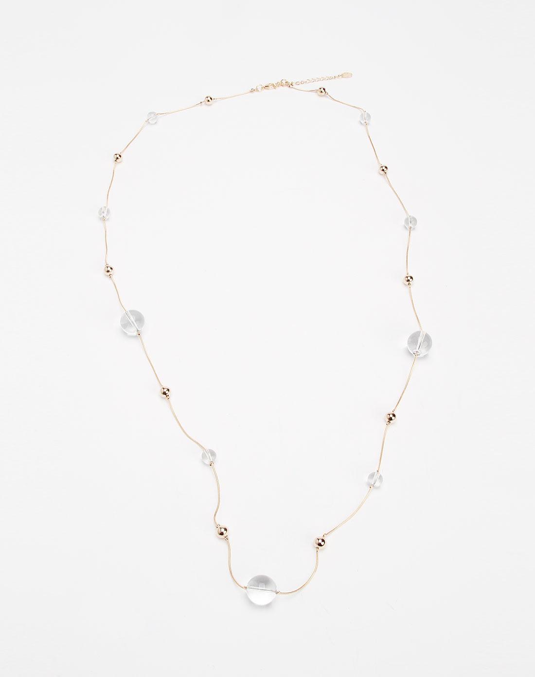 金/白色水晶球时尚项链